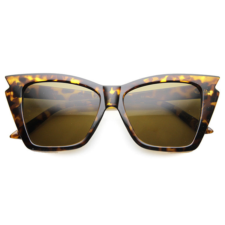 JAGGED EDGE CAT EYE SUNGLASSES - TORTOISE