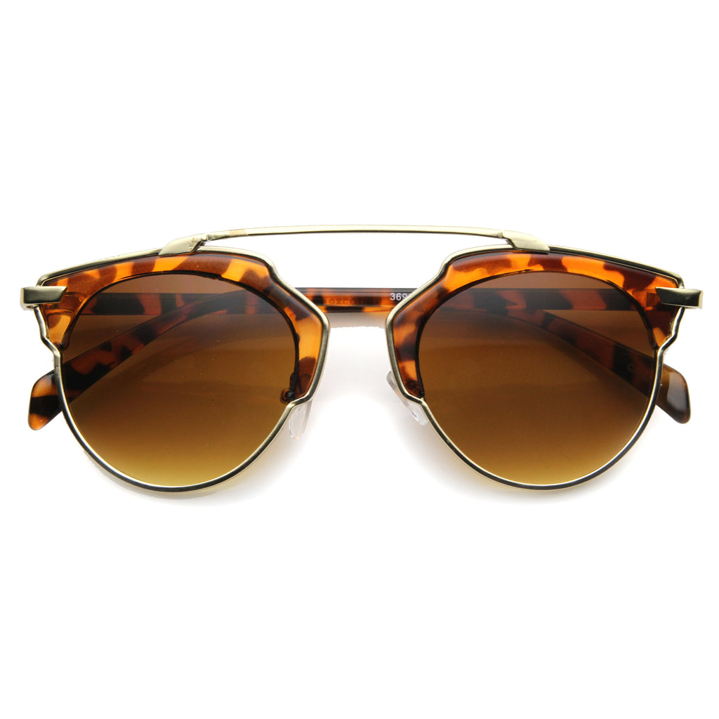 RAYA Trimmed Horn Rim Sunglasses in Tortoise at FLYJANE | Tortoise Frames | Tortoise Sunglasses | Cute Contemporary Sunglasses under $20 at FLYJANE