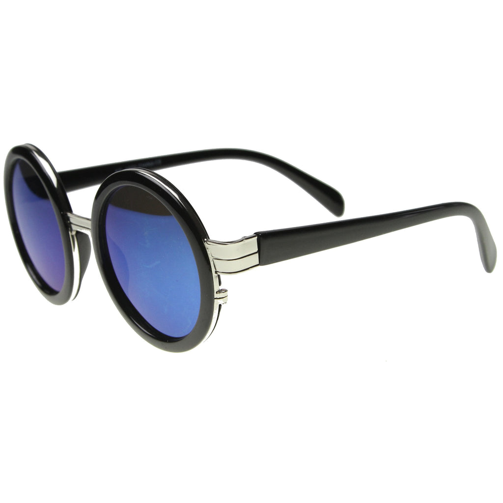 ARMA Revo Mirror Round Frame Sunglasses in Black Silver at FLYJANE | Fashion Sunglasses under $20 | Black Silver Ice Revo Sunglasses | Round Sunnies