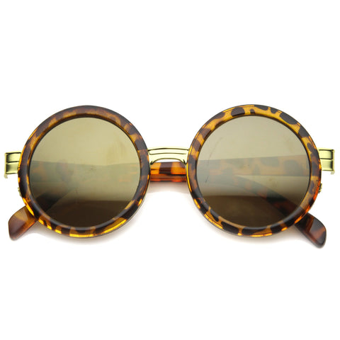 BLENDA Revo Mirror Round Frame Sunglasses in Tortoise at FLYJANE | Fashion Sunglasses under $20 | Tortoise Gold Brown Revo Round Sunglasses | Round Sunnies