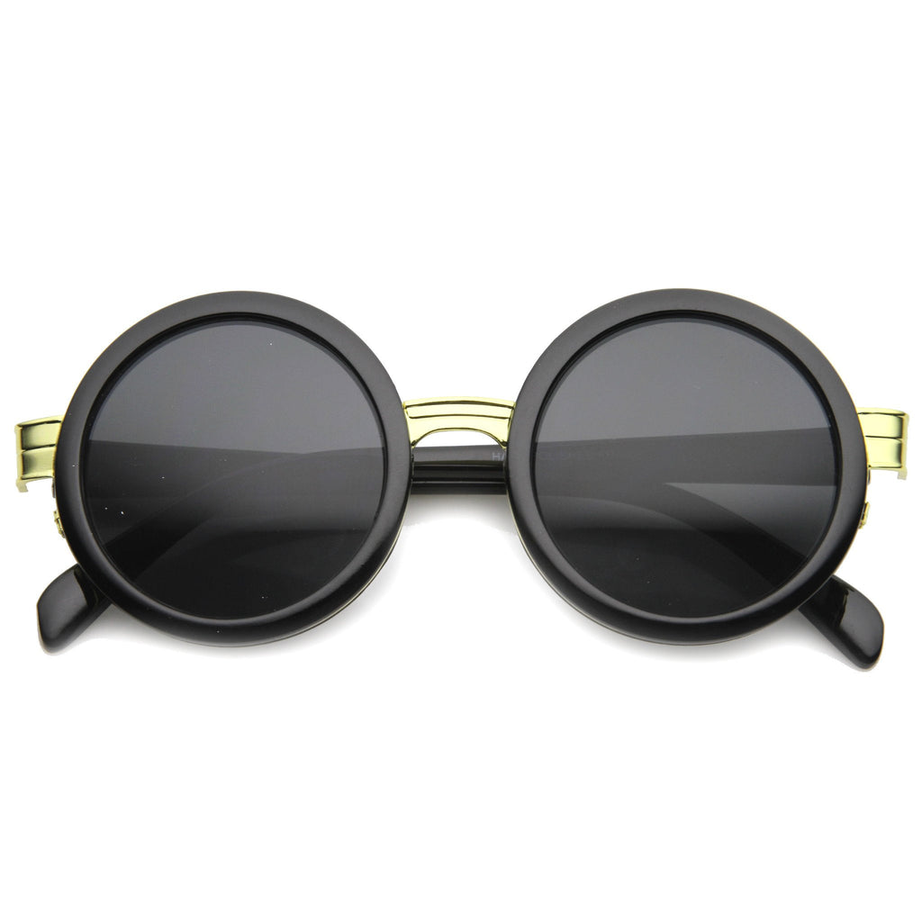 SORNA Revo Mirror Round Frame Sunglasses in Black at FLYJANE | Fashion Sunglasses under $20 | Black Gold Silver Smoke Revo Round Sunglasses | Round Sunnies