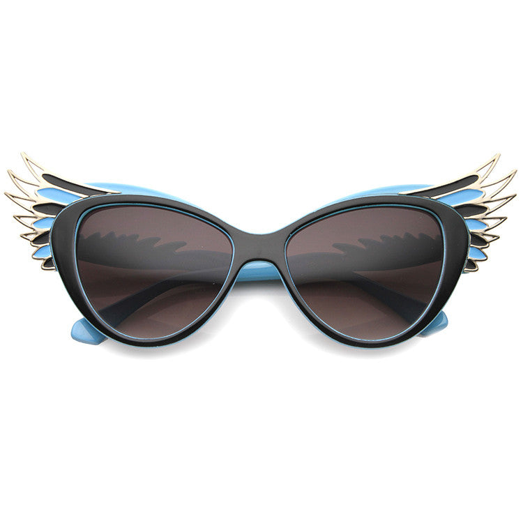 FLY HIGH Wing Tip Cat Eye Sunglasses in Red at FLYJANE | Blue and Gold Cat Eye Sunglasses | Black and Pink Cat Eye Sunglasses | Cute Sunnies under $20