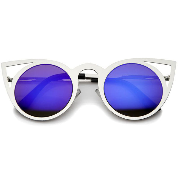 NEO Silver Frame Blue Mirror Lens Cat Eye Sunglasses - FLYJANE | Laser Cut Blue Mirror Frames | Blue Revo Mirror Cat Eye Sunglasses | Fashion Sunglasses under $20