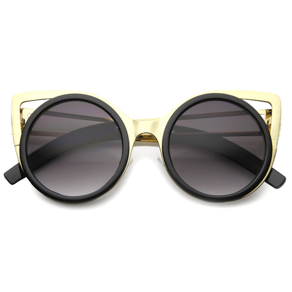 NAYANA Black and Gold Metal Cut Cat Eye Sunglasses at FLYJANE | Black and Gold Sunglasses | Black Round Frame Sunglasses