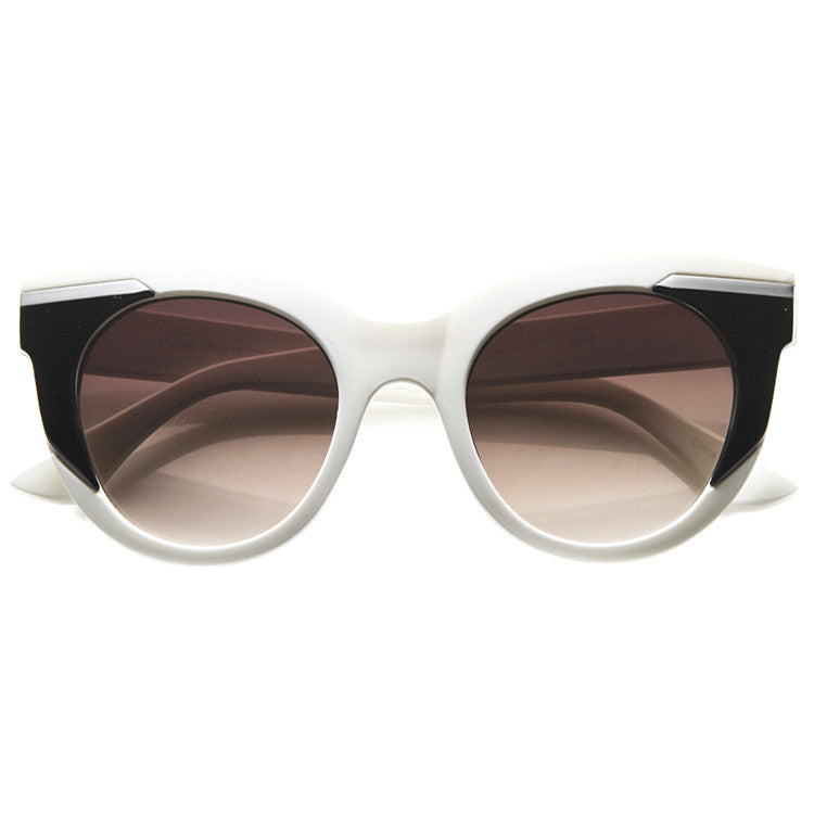 be9ca956419 CLEAR AS DAY Black and White Cat Eye Sunglasses at FLYJANE