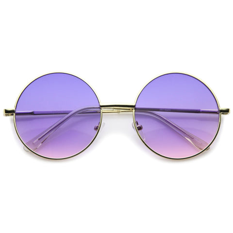 LAYA Retro Round Frame Sunglasses in Pink Purple at FLYJANE | Retro Hippie oversize metal circle sunglasses that features brightly colored, gradient lenses