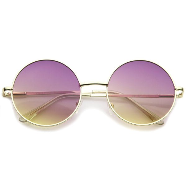ILAYA Retro Round Frame Sunglasses in Purple Yellow Fade at FLYJANE | Retro Hippie oversize metal circle sunglasses | Gradient Colored Lens Sunnies Sunglasses