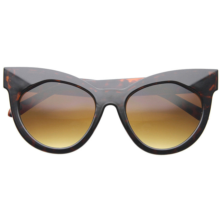 CARLY Tortoise Flat Front Cat Eye Sunglasses at FLYJANE | Cat Eye Sunnies | Classic Overized Cat Eye Frames | Contemporary Fashion Sunglasses