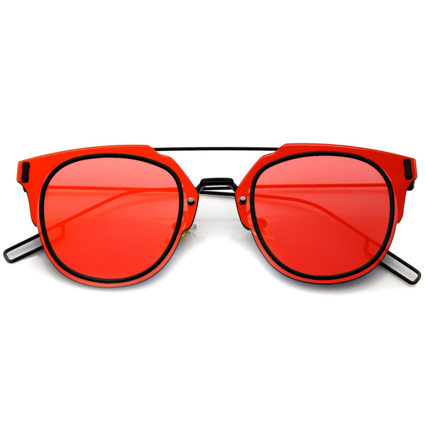 FIYAH WIRE Flat Frame Mirror Sunglasses in Red Black Mirror at FLYJANE | Flat Frame Shades | Mirrored Lens Sunglasses | Revo Sunglasses | Dope Shades under $25