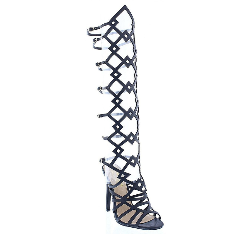 ANCA Gladiator Geometric Cutout Buckled Heel in Black at FLYJANE | Black Gladiator Knee Sandals | Geometric Cutout Gladiator Sandals Heels High Heels | @FlyJane