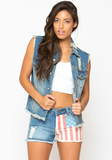Americana Cutoff Shorts at FLYJANE
