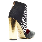 Red Kiss BAD GIRL Cut Out Bootie in Black White at FLYJANE