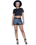 CONSTELLATION Sequin Shorts in Black at FLYJANE