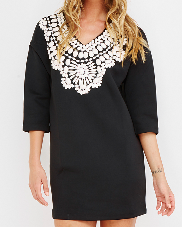 THE CHARMER Beaded Tunic Dress in Black by Endless Rose at FLYJANE