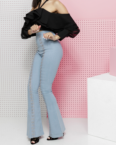 OUT ON BELL Hook and Eye Denim Bell Bottoms at FLYJANE | Light Denim High Waist Hook and Eye Wide Leg Denim Jeans | Denim Streetstyle at the FADE Denim Shop