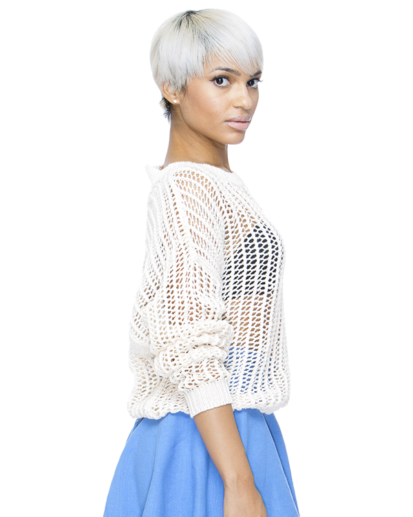 PEEK A BOO Knit Crop Sweater in Beige at FLYJANE