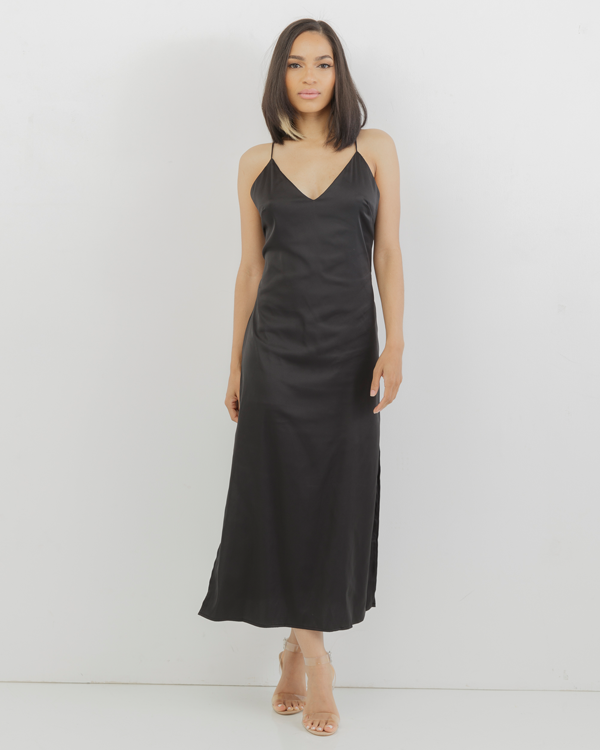 PALOMA Satin Slip Dress in Black at FLYJANE | Satin Slip Dress | Little Black Dress | Cute Party Dresses for the Holidays | Black Satin Maxi Dress at FLYJANE
