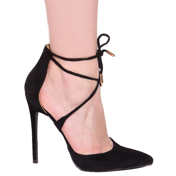 MONA LACE UP PUMP - BLACK