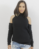 MARNI Cold Shoulder KNIT SWEATER in BLACK at FLYJANE | Black Silk Knit Sleeveless Sweater | Black Cute Knit Sweaters under $50 |  Follow us on IG at  @FlyJane