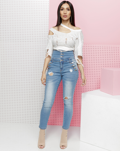 HI KEY HIGH WAIST DENIM JEANS