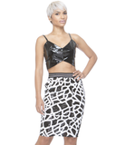 NIGHT TRAIN Sequin Midi Skirt in Black at FLYJANE