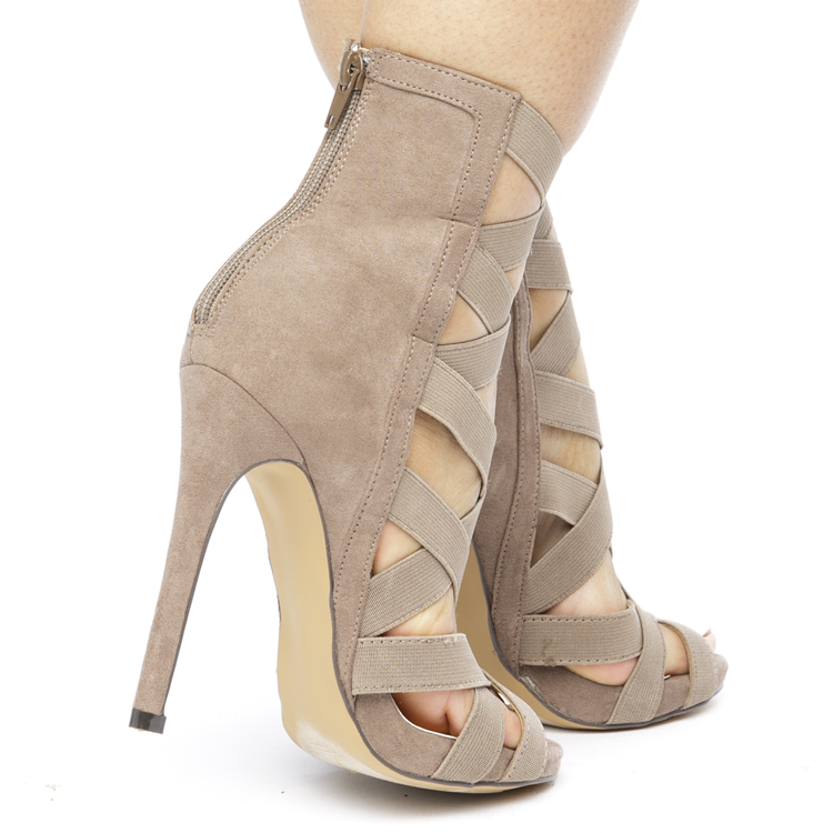 CAGNEY Caged Spandex Faux Suede Bootie in Taupe at FLYJANE | Taupe Neutral Suede Bootie | Cute Faux Suede Bootie Spandex Strappy Nude Booties | Shoes under $50