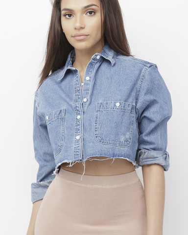 CARDANA Denim Collared Cut Off Crop Top Shirt at FLYJANE | Denim Crop Top Shirt | Denim Collared Shirt | Denim Trend for Spring 2017 | Street Style at FLYJANE
