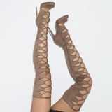 CHAOS Lace Up Thigh High Faux Suede Boots in Taupe by The Loud Factory at FLYJANE | the Loud Factory Shoes | taupe Lace up Suede Thigh High Boots at FLYJANE