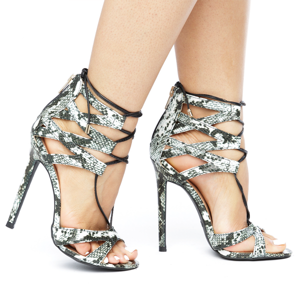 ZIGINY CHOIR Open Toe Lace Up Snake Print Heel in White Black at FLYJANE | Snake Print Heels | ZigiNY Lace Up Heels | White and Black Snake Print Heels