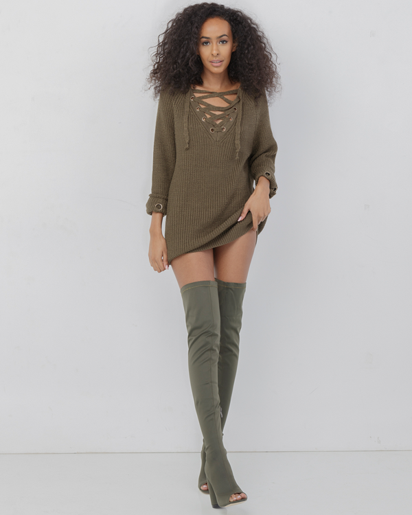 9bf55d3e00 ... MELANIE Olive Green Oversized Lace Up Sweater at FLYJANE