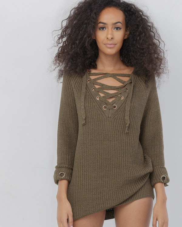 705ded1506 MELANIE OVERSIZED LACE UP SWEATER. MELANIE Olive Green ...