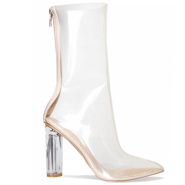 ARIAS Perspex Heel Ankle Boot at FLYJANE | Clear Ankle Boots | Yeezy-Inspired Clear Perspex Ankle Booties | Follow Us on Instagram at @FlyJane