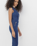 CODY Dark Denim Stretch Denim Jumpsuit at FLYJANE | Cute Fitted Denim Jumpsuit | Stretch Denim Open Front Jumpsuit