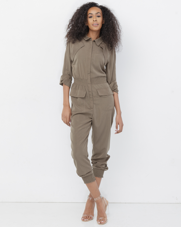 CORILEE Khaki Utility Jumpsuit at FLYJANE | Cute Utility Jumpsuit with Pockets | Khaki Play Jumpsuit for Spring | Cute Day Clothes | Fashion FLY at FLYJANE