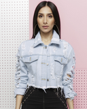 NECCESSARY ROUGHNESS CROPPED DENIM JACKET