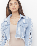 CAROLINA Distressed Cropped Light Denim Jacket at FLYJANE | Frayed Cut Off Denim Jacket | Cute Clothes | Frayed Distressed Cut Off Denim Jacket at FLYJANE
