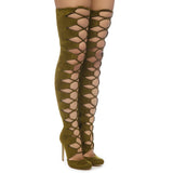 CHAOS Lace Up Thigh High Faux Suede Boots in Olive by The Loud Factory at FLYJANE | the Loud Factory Shoes | Olive Lace up Suede Thigh High Boots
