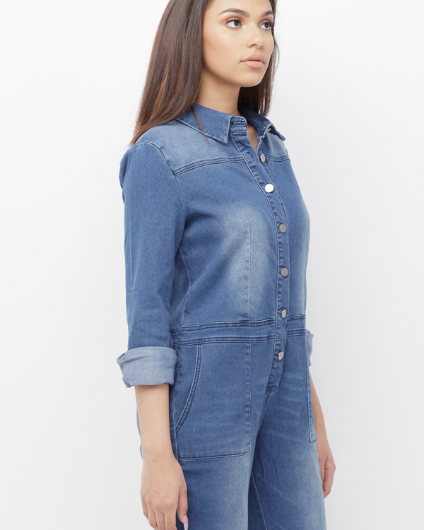TALLULAH Classic Stretch Denim Jumpsuit at FLYJANE | Stretch Denim Jumpsuit | Utility Boyfriend Jeans Jumpsuit | Cute Denim Jumpsuit | Rihanna Denim Jumpsuit