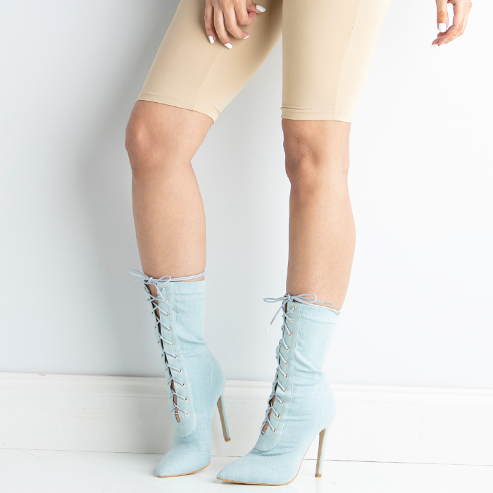 BAHLA Stretch Denim Ankle Bootie by The Loud Factory for FLYJANE | Denim Booties | Kim Kardashian Ankle Boots | Bahla Denim Ankle Booties | Sexy Denim Booties
