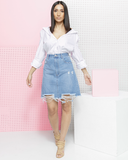 KENDALL Denim Mini Skirt by FLYJANE at the Fade Denim Shop | Jean Skirt | Kendall Jenner Denim Mini Skirt | Shop Streetstyle Fashion at the Fade Denim Shop