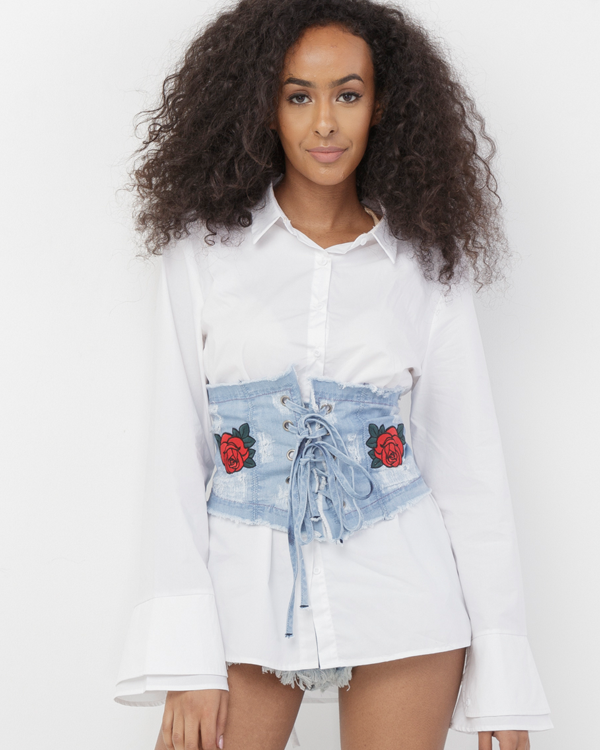 ROSALIA DISTRESSED DENIM CORSET BELT