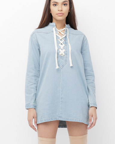 NOMA LACE UP DENIM TUNIC DRESS