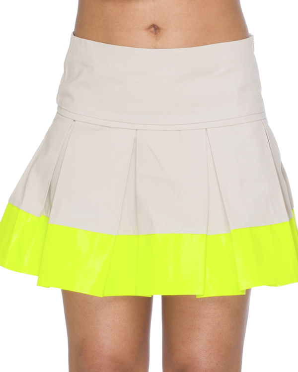 MARK ME Dipped Leather Pleated Skirt at FLYJANE