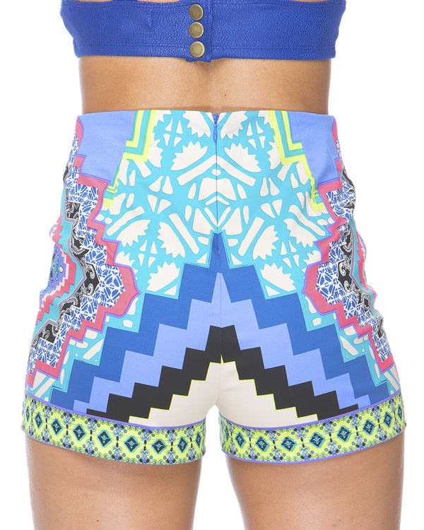 PRINT ENVY HIGH WAIST SHORTS - BLUE