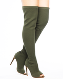 ENIRO KNIT THIGH HIGH BOOT - OLIVE