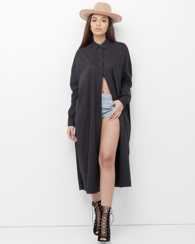 ERYKAH Long Button Down Black Maxi Shirt Dress at FLYJANE | Longline Button Down Shirt Dress | Maxi Blouse Shirt Dress | Black Shirt Dress Blouse