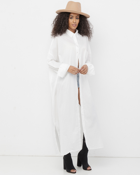 ERYKAH Long Button Down White Maxi Shirt Dress at FLYJANE | Longline Button Down Shirt Dress | Maxi Blouse Shirt Dress | White Shirt Dress Blouse