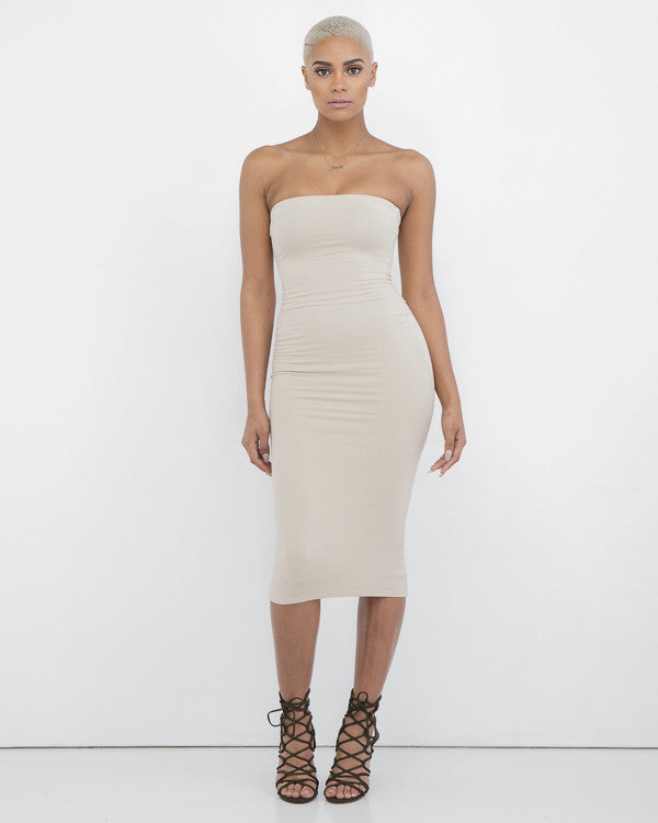 NADIA STRAPLESS MIDI DRESS
