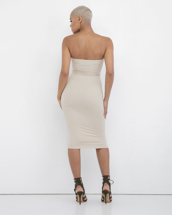 NADIA Nude Strapless Midi Dress at FLYJANE | Kim Kardashian Nude Strapless Bodycon Dress | Nude Dress | Neutral Tone Bodycon Dress