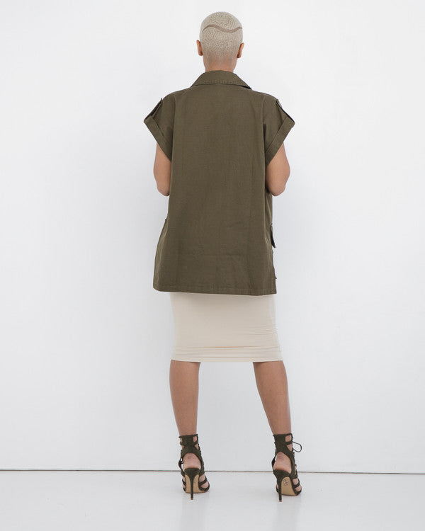 AT EASE Army Green Military Vest at FLYJANE | Contemporary Army Green Military Vest | Cute Olive Military Inspired Jackets at FLYJANE